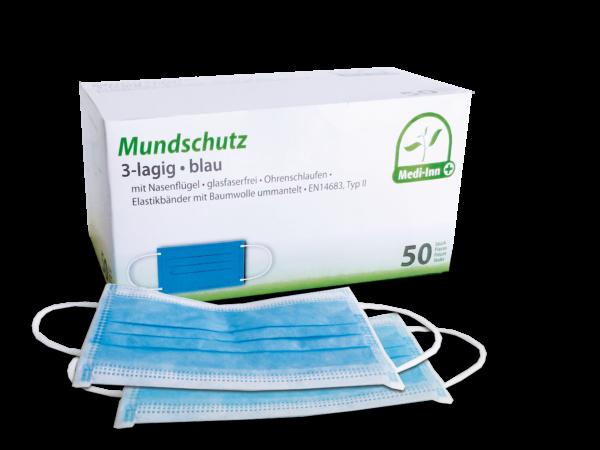 Medizinischer Mundschutz, blau, 3-lagig